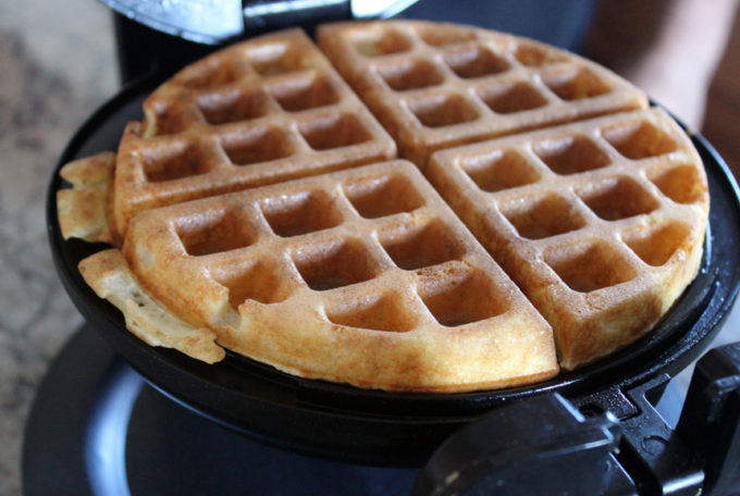 Yeast Waffles - Once your Waffle iron is heated, pour about 5 oz of batter on the iron and let it go until your desired darkness. For me it's about 6 minutes to golden brown.