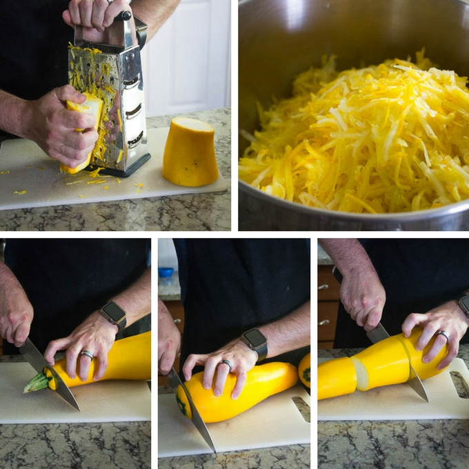 Cut the ends off of the zucchini and break it into smaller pieces that are easier to handle. Using a box grater, grate each of the four sides of each piece until you get down to the seeds. Discard the seeds.