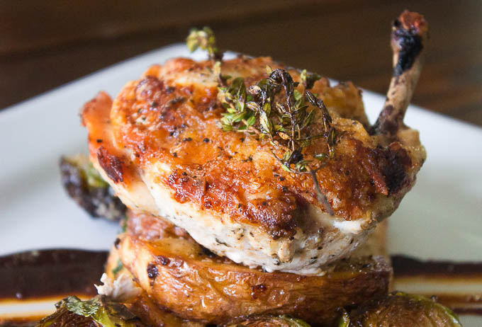 crispy skin, juicy inside, everything a good seared chicken breast should be!