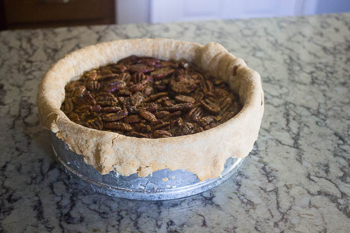 While still warm, trim the crust for a sexier pie.