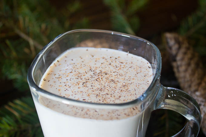 Top with a little fresh grated nutmeg for garnish and enjoy! It's sweet, rich, creamy and has enough alcohol to give anybody the holiday spirit!