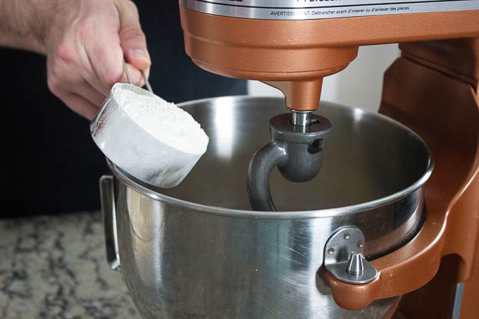 Dry mix and add your dry to the wet one 1/2 cup at a time until fully mixed.