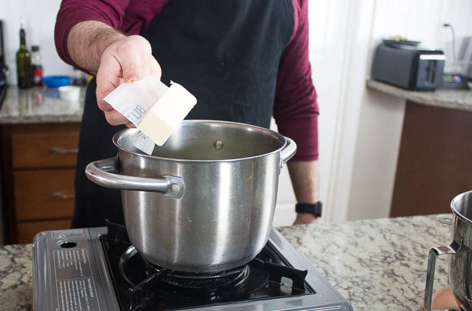 Heat your butter, oil, milk and eggs to 110 degrees. Pour into a mixing bowl.