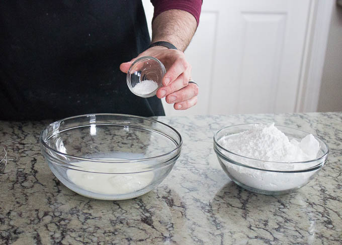 While your doughnuts are proofing, make a glaze if you wish by mixing 100g milk, 4 g salt, and 400 g powdered sugar.