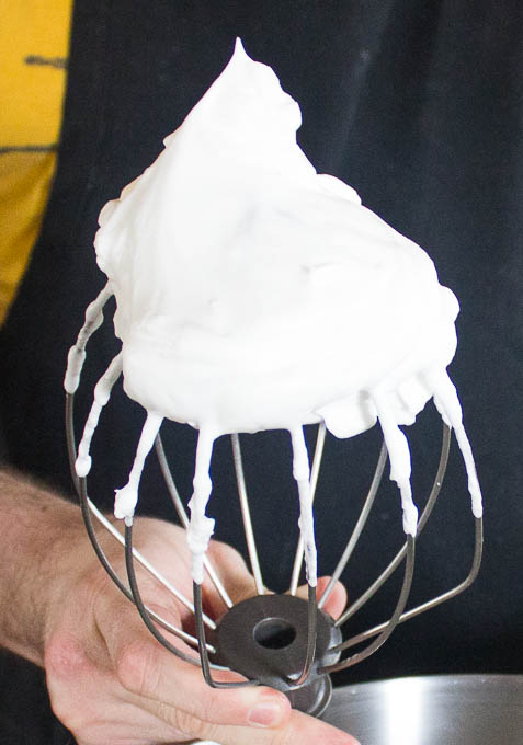 Add your egg whites and salt to the mixing bowl and whisk until frothy. Add your sugar, and whip until firm peaks form.