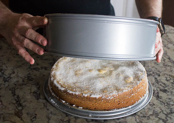 Mix your salt and sugar together and dust it over the cake strait out of the oven. Let cool for 20 minutes before removing from the pan and slicing.