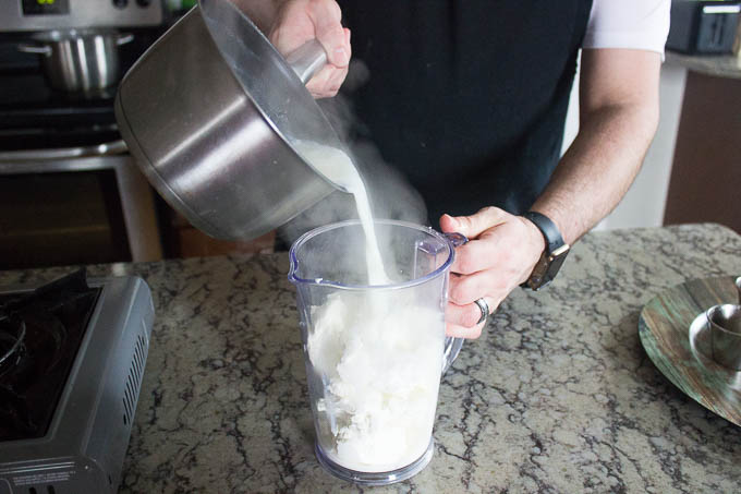 Put the goat cheese in your blender and pour the hot mixture over it. Blend until smooth.