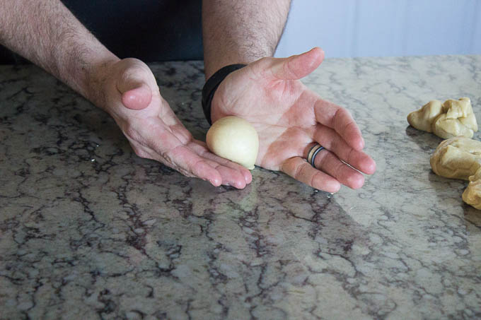 Turn out onto your work surface. Cut into 60 g portions and roll into balls. Place them into a lightly greased dutch oven. Place the lid on, and move them to a warm place to proof.