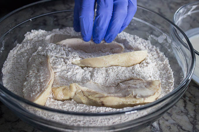 Dredge your chicken in the buttermilk and then the flour. If you like it extra crispy, dredge it in the buttermilk and flour a second time to make an extra thick coating.