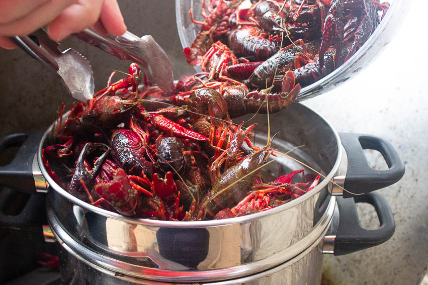 Add your crawfish as quickly as possible. Cook for 3 minutes and 3 minutes ONLY. Turn the heat off and allow to rest on the burner for 10 minutes to allow the crawfish to just gently finish cooking.